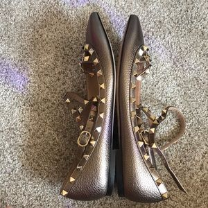 Valentino Shoes - Valentino Rockstud Leather Ankle Strap Flats
